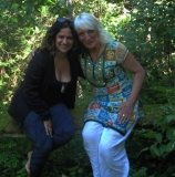 Shaila & Maureen at the dark lodge & seven waves retreat. on moos bench!